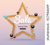 sale golden banner. poster ... | Shutterstock .eps vector #417966649