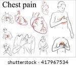 heart and heartburn. chest pain.... | Shutterstock .eps vector #417967534