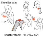 shoulder pain. pencil drawing ... | Shutterstock .eps vector #417967564