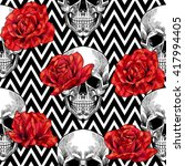 skull and red roses on a... | Shutterstock .eps vector #417994405