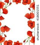 Red Poppy Flowers Frame...