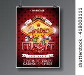 vector party flyer design on a... | Shutterstock .eps vector #418003111