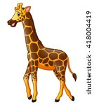 happy giraffe cartoon | Shutterstock .eps vector #418004419
