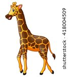 happy giraffe cartoon | Shutterstock . vector #418004509