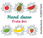 vector set of different hand... | Shutterstock .eps vector #418007665