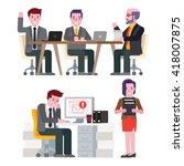 business man he had worked... | Shutterstock .eps vector #418007875