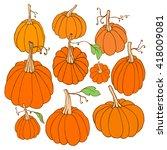 set of hand drawn pumpkins.... | Shutterstock .eps vector #418009081