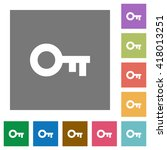 old key flat icon set on color...