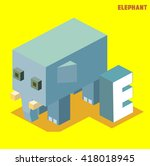 e for elephant  animal alphabet ... | Shutterstock .eps vector #418018945