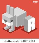 r for rabbit. animal alphabet... | Shutterstock .eps vector #418019101