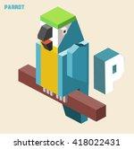 p for parrot. animal alphabet... | Shutterstock .eps vector #418022431