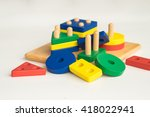 colorful wooden toy domino | Shutterstock . vector #418022941