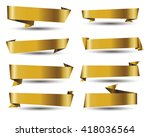 gold banner ribbon vector set... | Shutterstock .eps vector #418036564