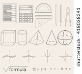set of math icons. linear style.... | Shutterstock .eps vector #418038241