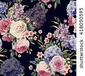 seamless floral pattern with... | Shutterstock .eps vector #418050595