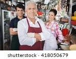 confident salespeople in cheese ... | Shutterstock . vector #418050679