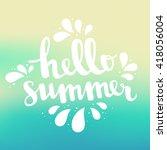 hello summer card. vector blue... | Shutterstock .eps vector #418056004