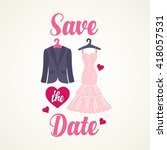 save the date card with smoking ... | Shutterstock .eps vector #418057531