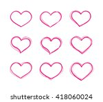hand drawn red heart shapes set.... | Shutterstock . vector #418060024