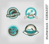 set retro vintage summer... | Shutterstock . vector #418063357