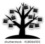 tree with blank instant photos... | Shutterstock . vector #418066501