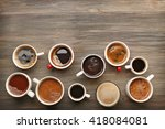 different cups of coffee on... | Shutterstock . vector #418084081