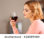 young woman with glass of red... | Shutterstock . vector #418089484