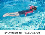 little boy swimming in the pool | Shutterstock . vector #418093705