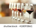 many glasses of different wine...   Shutterstock . vector #418093861