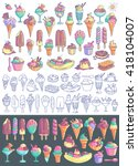 ice cream vector set. snow cone ... | Shutterstock .eps vector #418104007