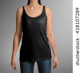 female wearing black tank top... | Shutterstock . vector #418107289