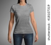 female wearing grey t shirt... | Shutterstock . vector #418107319