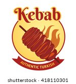 kebab label | Shutterstock .eps vector #418110301