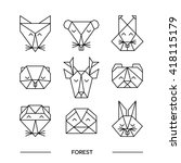 origami vector animals set.... | Shutterstock .eps vector #418115179