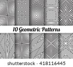 set of 10 abstract patterns.... | Shutterstock .eps vector #418116445