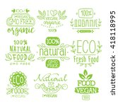 organic food calligraphic label ... | Shutterstock .eps vector #418118995