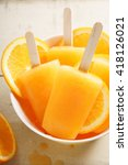 Orange Ice Pops Fresh Summer...
