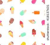 ice cream seamless pattern....   Shutterstock .eps vector #418137631