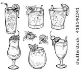 sketch cocktails and alcohol... | Shutterstock .eps vector #418140241