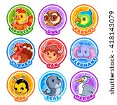 set of round stickers with cute ... | Shutterstock .eps vector #418143079