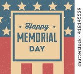 Stock vector happy memorial day retro background 418145539
