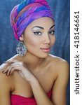 young african beauty in ethnic... | Shutterstock . vector #418146661