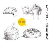 hand drawn set bakery... | Shutterstock .eps vector #418148695