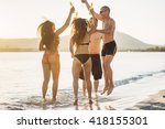 group of young multiethnic... | Shutterstock . vector #418155301