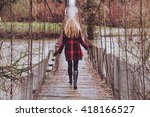 a woman goes away | Shutterstock . vector #418166527