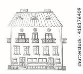 hand drawn three storey house...   Shutterstock . vector #418176409
