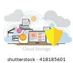 thin line flat design concept...   Shutterstock .eps vector #418185601
