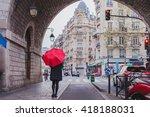 Woman With Red Umbrella Walkin...