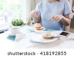 group of pink cupcakes... | Shutterstock . vector #418192855