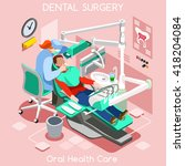 dental care center chair teeth... | Shutterstock .eps vector #418204084